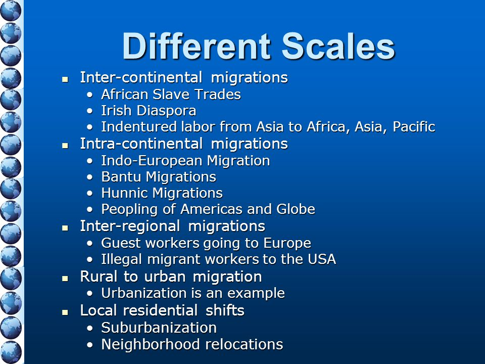 Different Scales Inter-continental migrations Inter-continental migrations African Slave TradesAfrican Slave Trades Irish DiasporaIrish Diaspora Inden