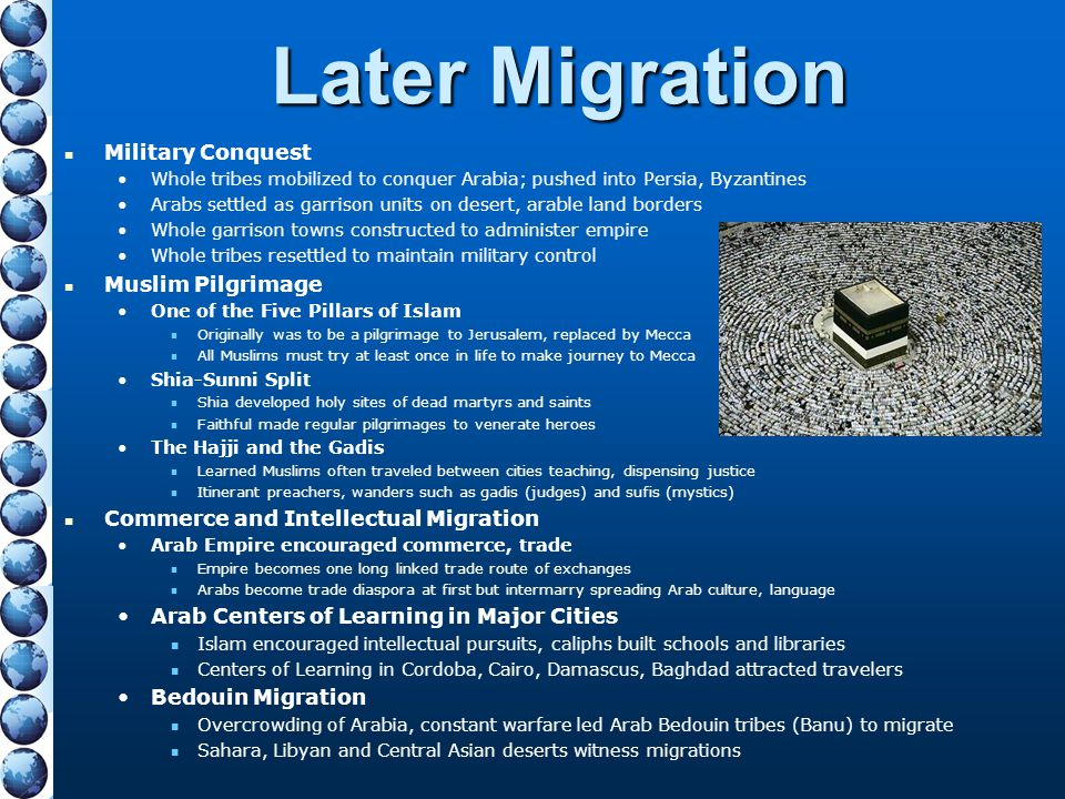 Later Migration Military Conquest Whole tribes mobilized to conquer Arabia; pushed into Persia, Byzantines Arabs settled as garrison units on desert,