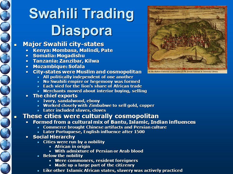 Swahili Trading Diaspora Major Swahili city-states Major Swahili city-states Kenya: Mombasa, Malindi, PateKenya: Mombasa, Malindi, Pate Somalia: Mogad