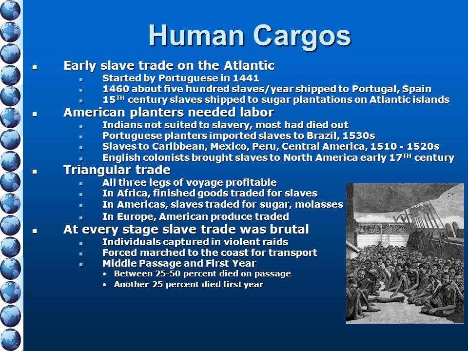 Human Cargos Early slave trade on the Atlantic Early slave trade on the Atlantic Started by Portuguese in 1441 Started by Portuguese in 1441 1460 abou