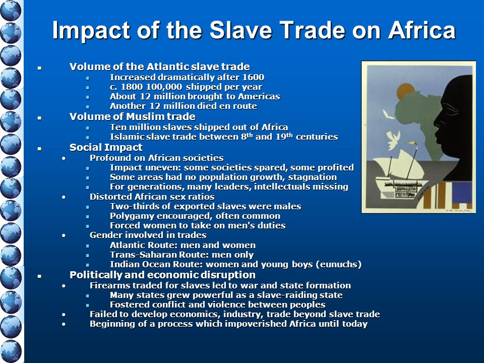 Impact of the Slave Trade on Africa Volume of the Atlantic slave trade Volume of the Atlantic slave trade Increased dramatically after 1600 Increased