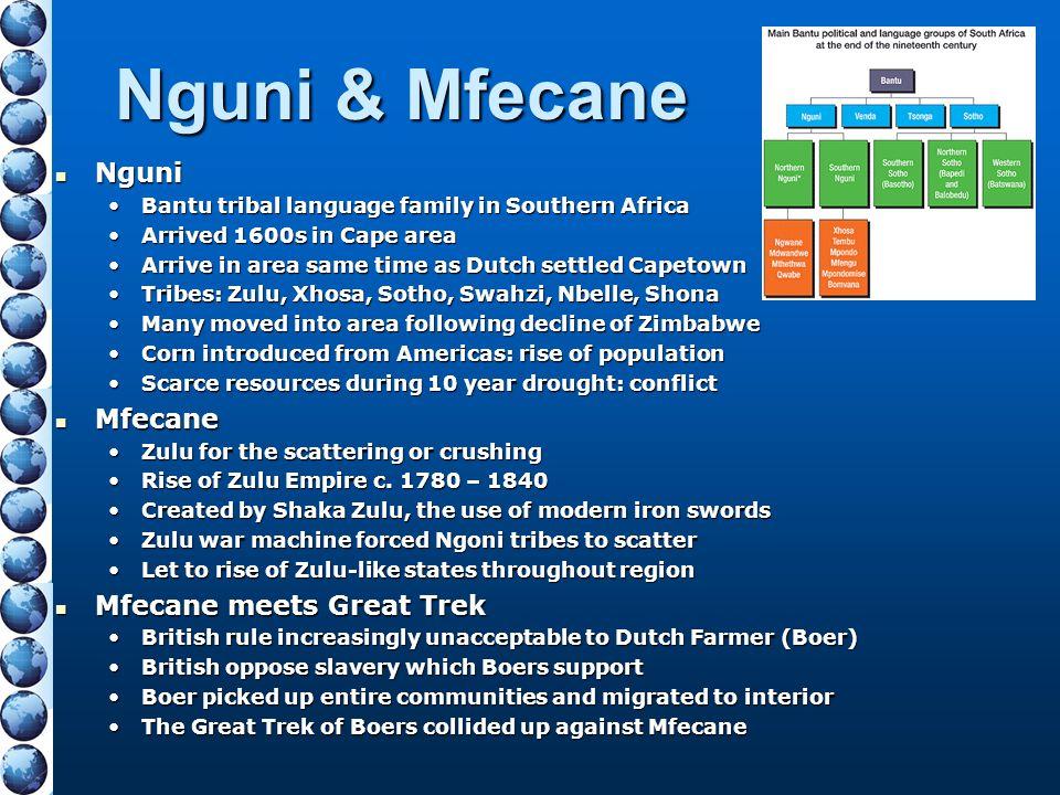 Nguni & Mfecane Nguni Nguni Bantu tribal language family in Southern AfricaBantu tribal language family in Southern Africa Arrived 1600s in Cape areaA