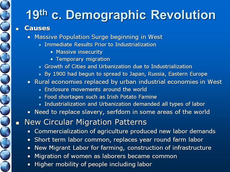 19 th c. Demographic Revolution Causes Causes Massive Population Surge beginning in WestMassive Population Surge beginning in West Immediate Results P