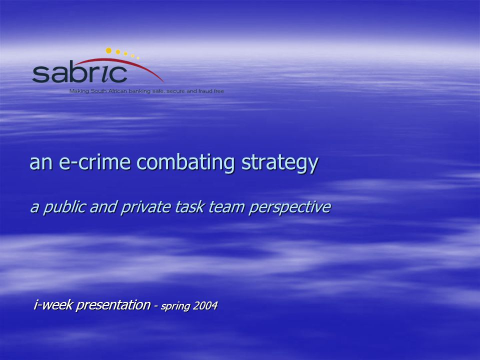 an e-crime combating strategy a public and private task team perspective i-week presentation - spring 2004
