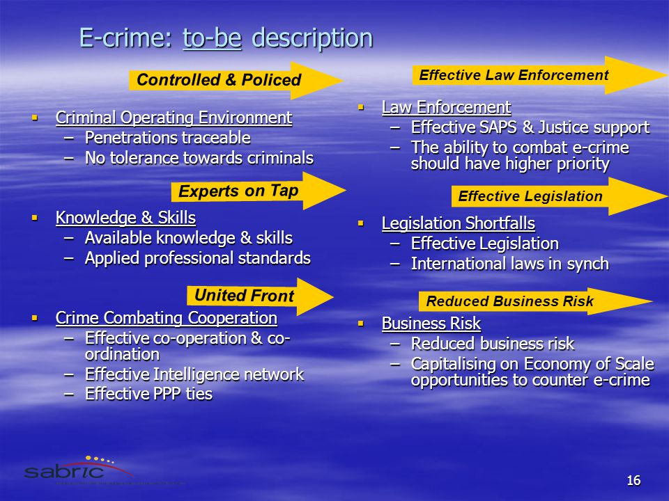 16 E-crime: to-be description  Criminal Operating Environment –Penetrations traceable –No tolerance towards criminals  Knowledge & Skills –Available knowledge & skills –Applied professional standards  Crime Combating Cooperation –Effective co-operation & co- ordination –Effective Intelligence network –Effective PPP ties  Law Enforcement –Effective SAPS & Justice support –The ability to combat e-crime should have higher priority  Legislation Shortfalls –Effective Legislation –International laws in synch  Business Risk –Reduced business risk –Capitalising on Economy of Scale opportunities to counter e-crime United Front Effective Legislation Experts on Tap Reduced Business Risk Controlled & Policed Effective Law Enforcement