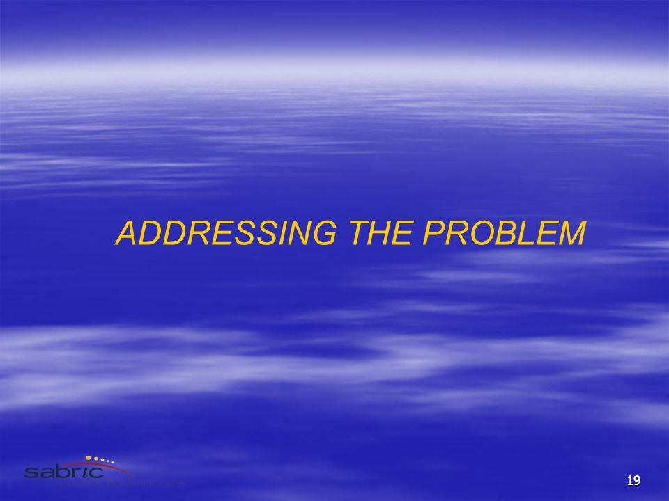 19 ADDRESSING THE PROBLEM