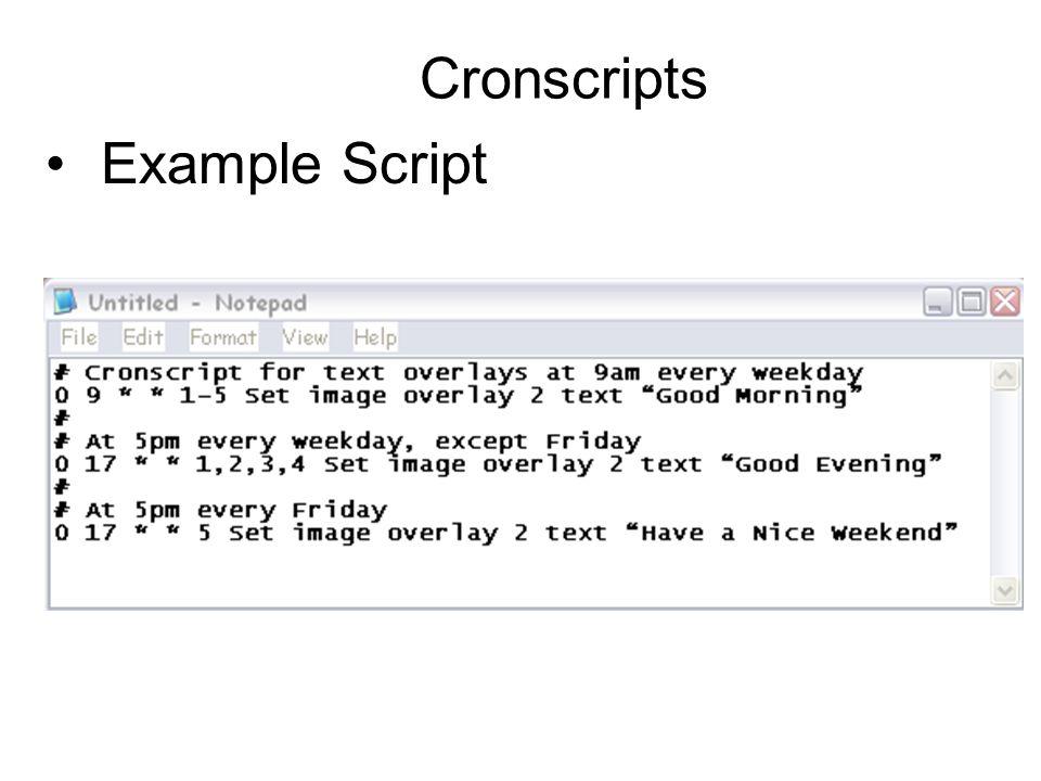 Cronscripts Example Script