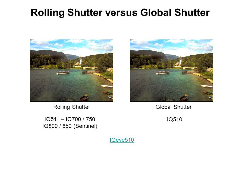 Rolling Shutter versus Global Shutter Rolling ShutterGlobal Shutter IQ511 – IQ700 / 750 IQ800 / 850 (Sentinel) IQ510 IQeye510