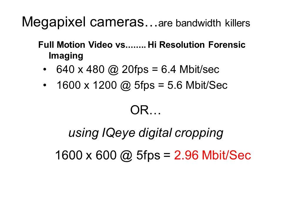 Megapixel cameras… are bandwidth killers 640 x 480 @ 20fps = 6.4 Mbit/sec 1600 x 1200 @ 5fps = 5.6 Mbit/Sec Full Motion Video vs........ Hi Resolution