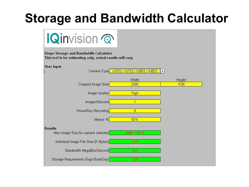 Storage and Bandwidth Calculator