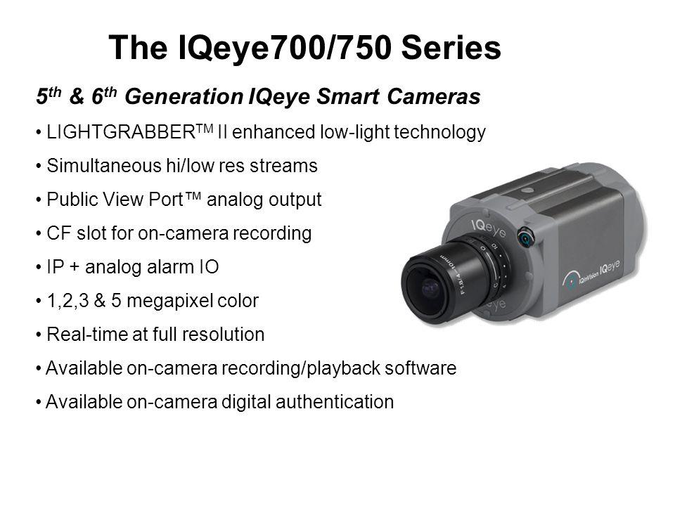 The IQeye700/750 Series 5 th & 6 th Generation IQeye Smart Cameras LIGHTGRABBER TM II enhanced low-light technology Simultaneous hi/low res streams Pu