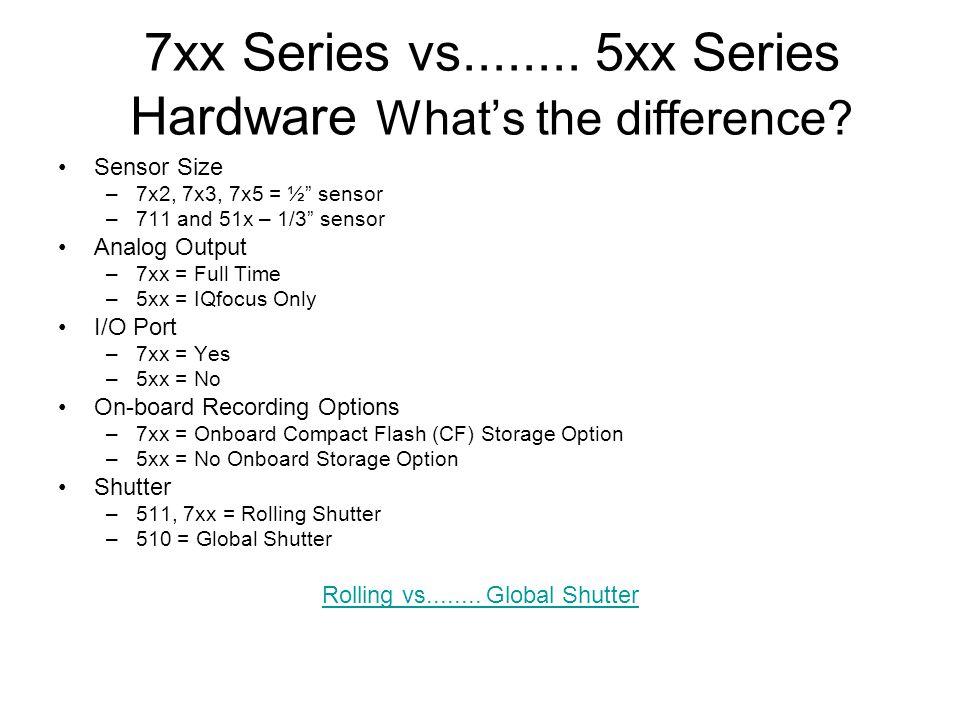"7xx Series vs........ 5xx Series Hardware What's the difference? Sensor Size –7x2, 7x3, 7x5 = ½"" sensor –711 and 51x – 1/3"" sensor Analog Output –7xx"
