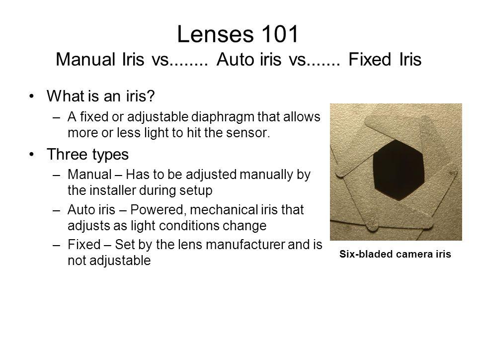 Lenses 101 Manual Iris vs........ Auto iris vs....... Fixed Iris What is an iris? –A fixed or adjustable diaphragm that allows more or less light to h