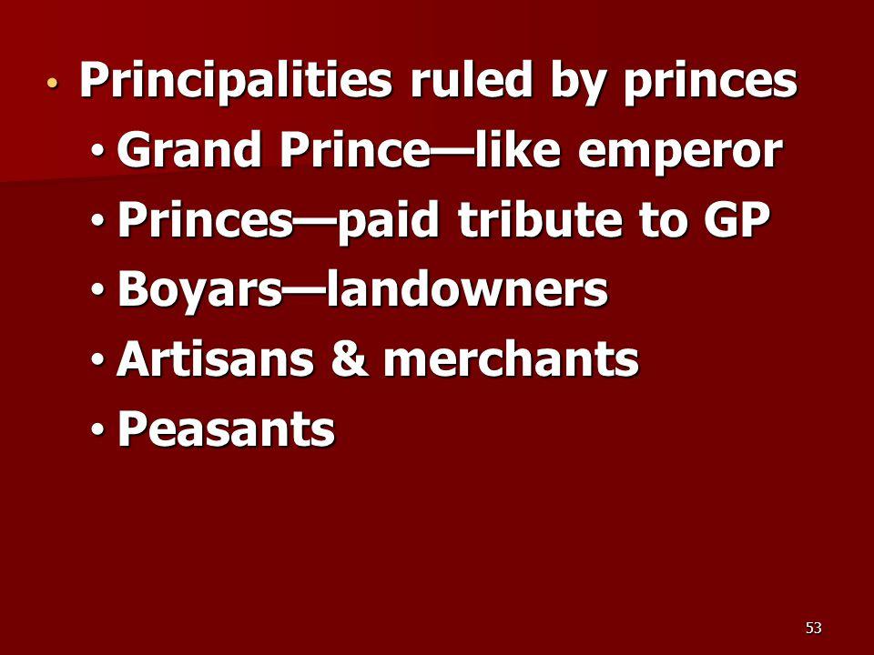 Principalities ruled by princes Principalities ruled by princes Grand Prince—like emperor Grand Prince—like emperor Princes—paid tribute to GP Princes—paid tribute to GP Boyars—landowners Boyars—landowners Artisans & merchants Artisans & merchants Peasants Peasants 53