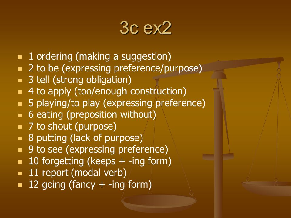3c ex2 1 ordering (making a suggestion) 2 to be (expressing preference/purpose) 3 tell (strong obligation) 4 to apply (too/enough construction) 5 playing/to play (expressing preference) 6 eating (preposition without) 7 to shout (purpose) 8 putting (lack of purpose) 9 to see (expressing preference) 10 forgetting (keeps + -ing form) 11 report (modal verb) 12 going (fancy + -ing form)