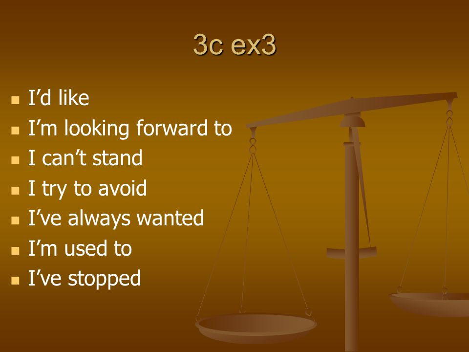 3c ex3 I'd like I'm looking forward to I can't stand I try to avoid I've always wanted I'm used to I've stopped