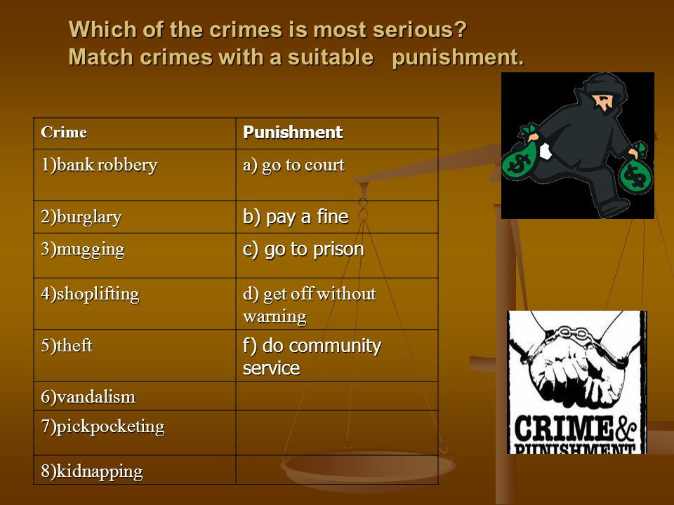 Which of the crimes is most serious. Match crimes with a suitable punishment.