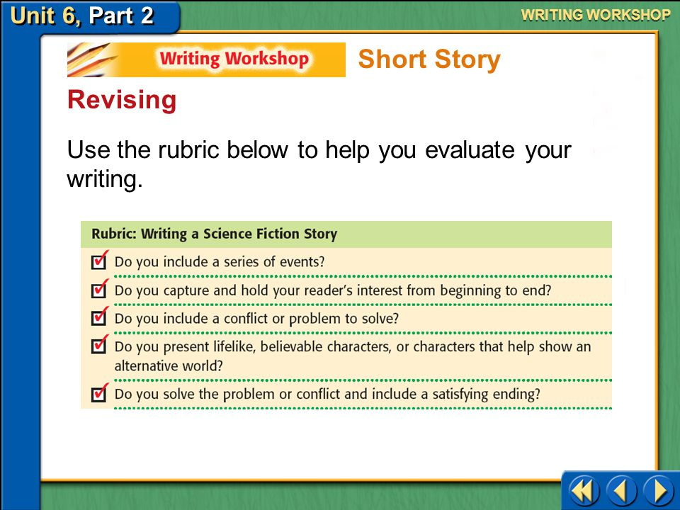 Unit 6, Part 2 Writing Workshop WRITING WORKSHOP Revising Peer Review When you finish your draft, ask a classmate to read it. Have your classmate iden