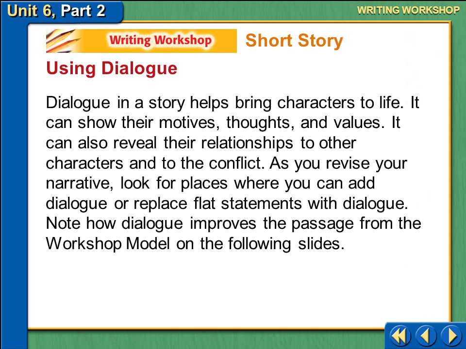 Unit 6, Part 2 Writing Workshop WRITING WORKSHOP Use the rubric below to help you evaluate your writing. Short Story Revising
