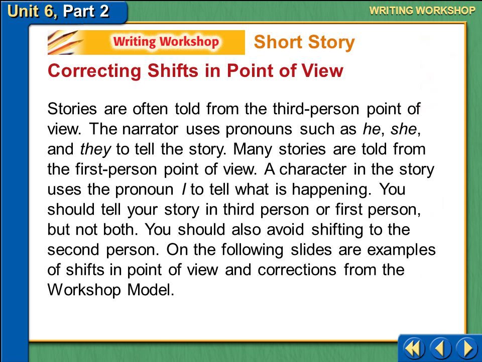 Unit 6, Part 2 Writing Workshop WRITING WORKSHOP Editing and Proofreading Get It Right When you have completed the final draft of your story, proofrea