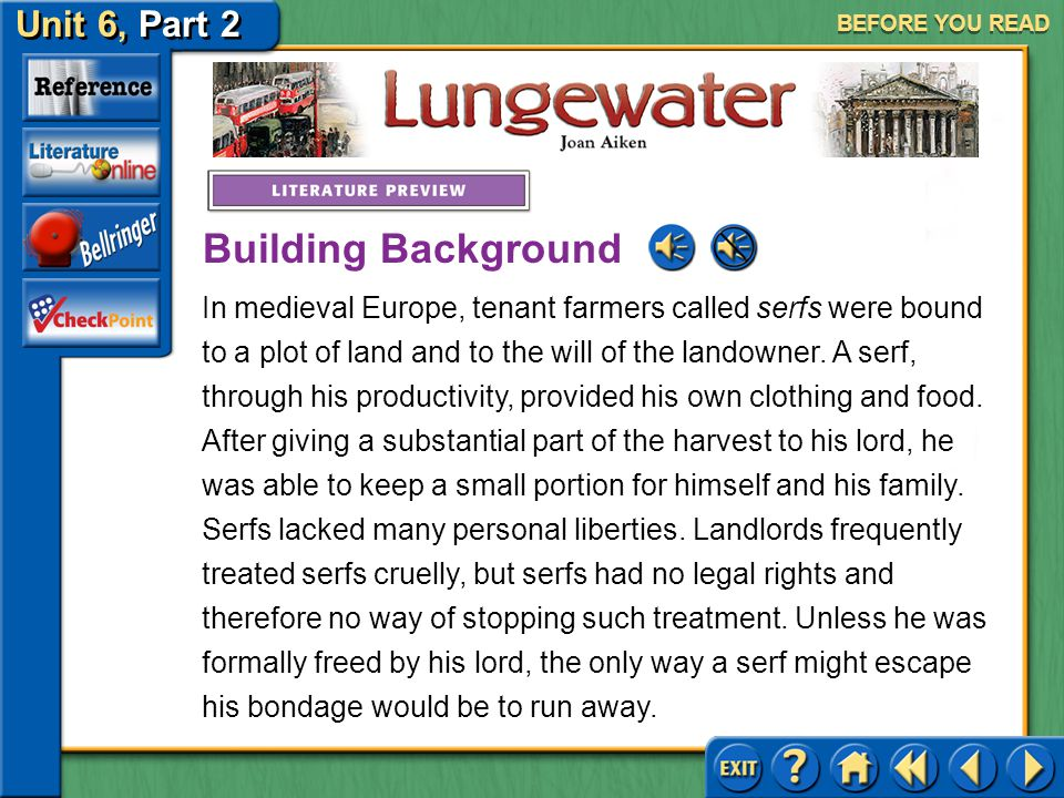 Unit 6, Part 2 Lungewater BEFORE YOU READ Before you read the selection, consider the following questions: Have you ever suddenly noticed someone who