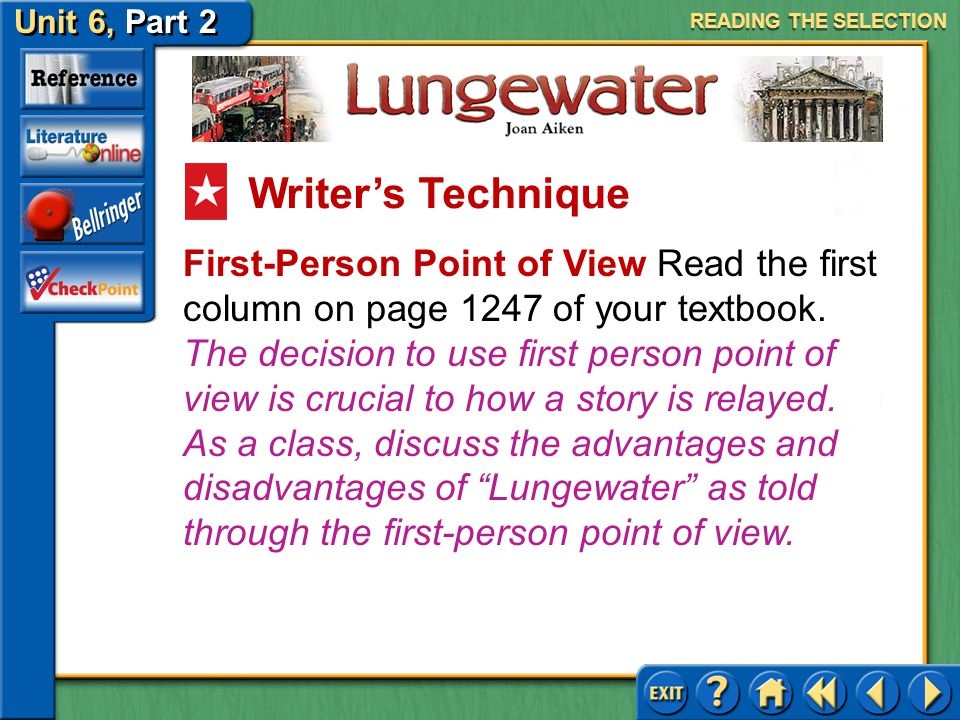 Unit 6, Part 2 Lungewater READING THE SELECTION Answer: The repetition of the letter writing and the count's order for Stiva to deliver it gives the s