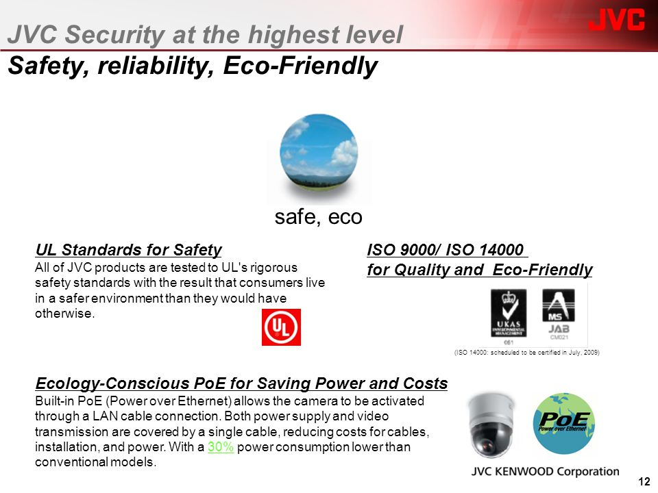 safe, eco UL Standards for Safety All of JVC products are tested to UL's rigorous safety standards with the result that consumers live in a safer envi