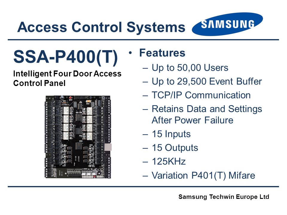 SSA-P400(T) Intelligent Four Door Access Control Panel Access Control Systems Features –Up to 50,00 Users –Up to 29,500 Event Buffer –TCP/IP Communica