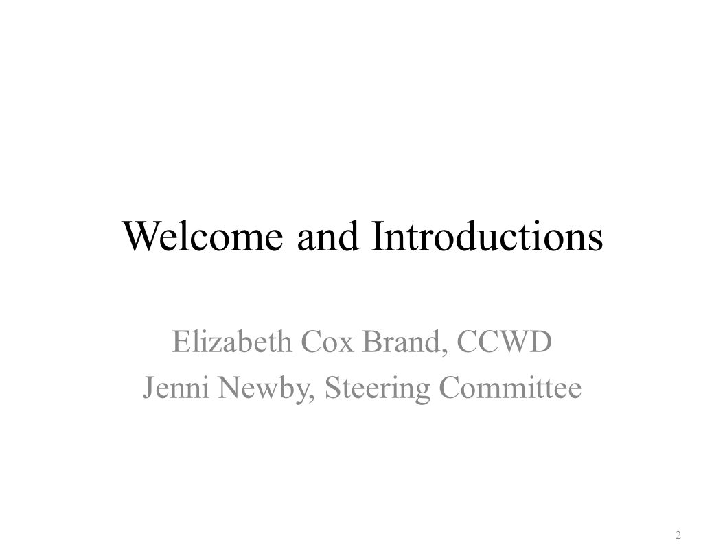 Welcome and Introductions Elizabeth Cox Brand, CCWD Jenni Newby, Steering Committee 2