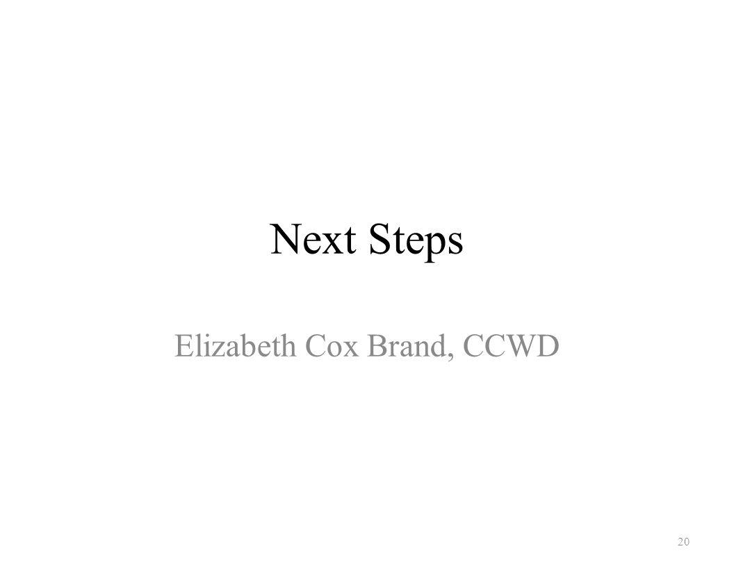 Next Steps Elizabeth Cox Brand, CCWD 20