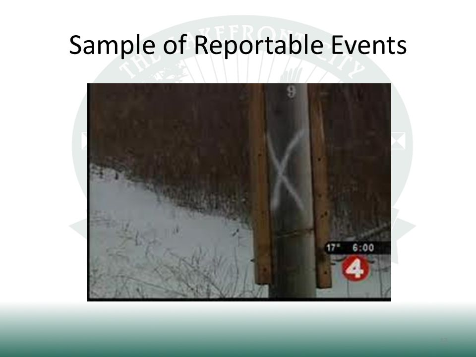 Sample of Reportable Events 13