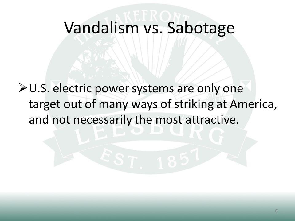 Vandalism vs.Sabotage  U.S.