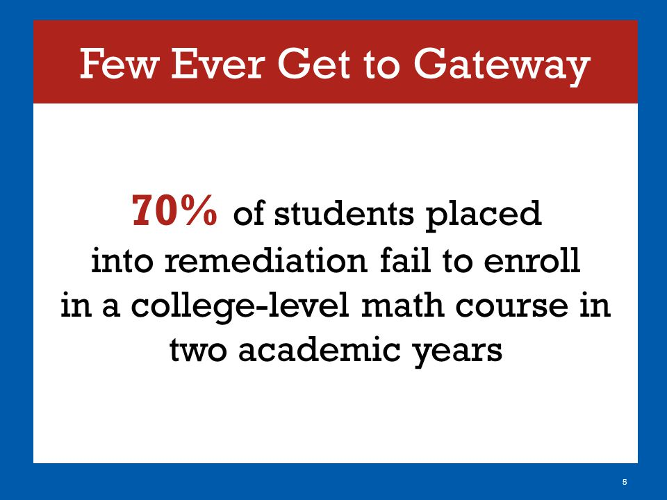 Few Ever Get to Gateway 70% of students placed into remediation fail to enroll in a college-level math course in two academic years 5