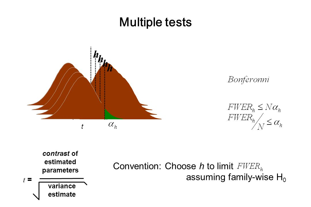 Multiple tests t = contrast of estimated parameters variance estimate t  h  t  h   h  t  h  Convention: Choose h to limit assuming family-wise H 0