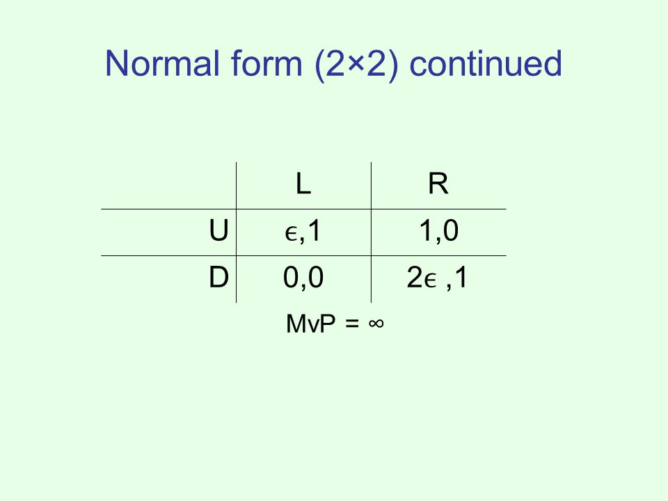 Normal form (2×2) continued MvP = ∞ LR U,11,0 D0,02,1