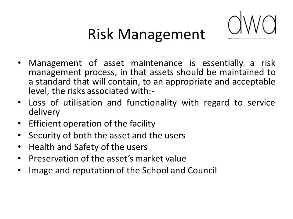 Strategy In satisfying these risk criteria the strategy will take into account:- Surveys on asset condition and records of maintenance history to inform decisions on future maintenance needs.