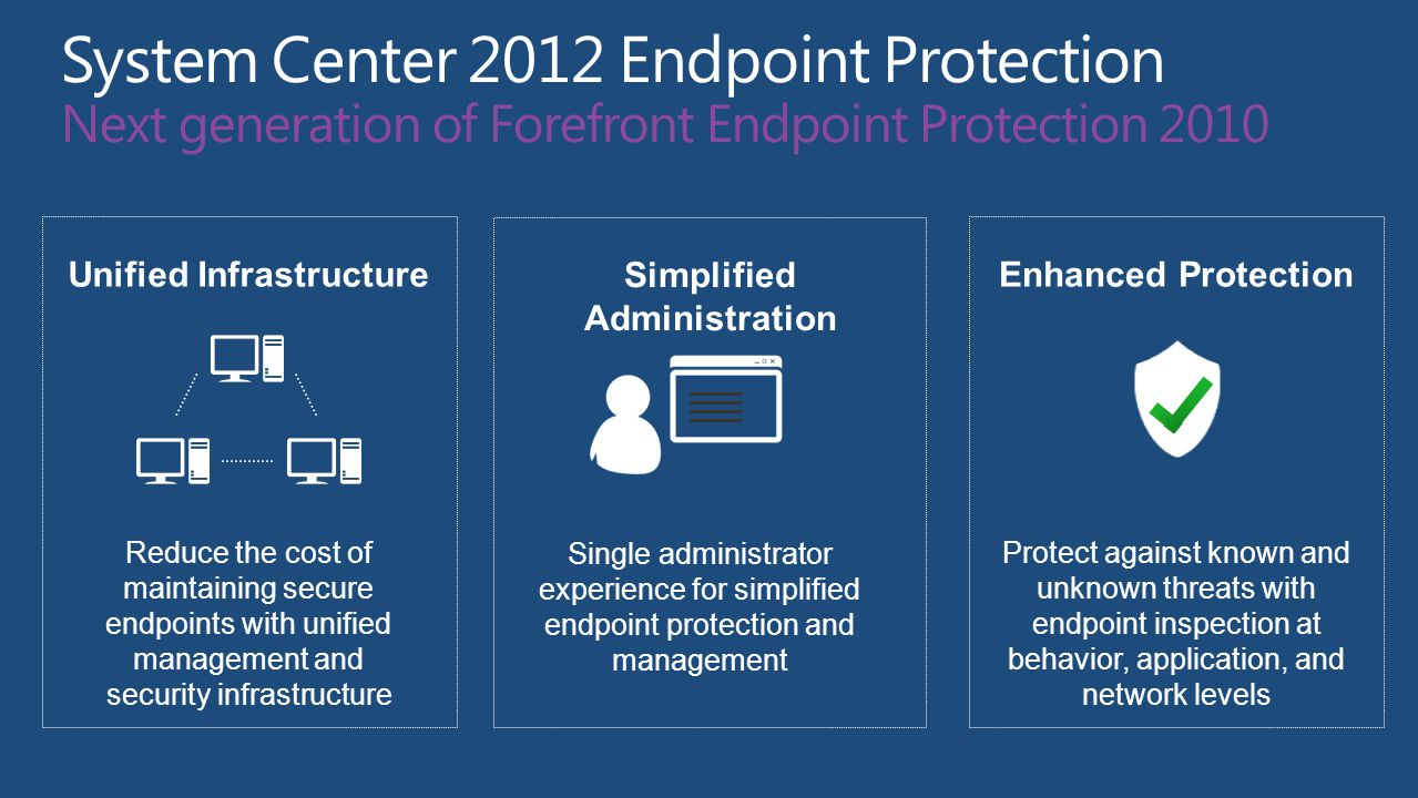 Unified Infrastructure Reduce the cost of maintaining secure endpoints with unified management and security infrastructure Simplified Administration Single administrator experience for simplified endpoint protection and management Enhanced Protection Protect against known and unknown threats with endpoint inspection at behavior, application, and network levels