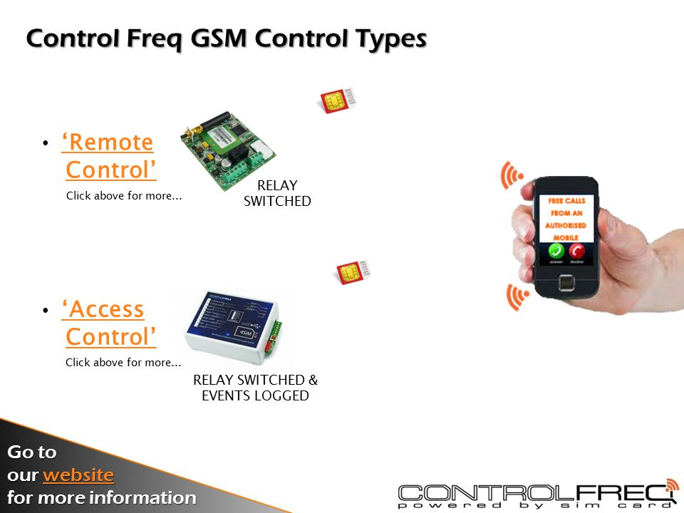 Introducing our Control Freq Product Range 2012 GSM Remote & Access Control Range Go to our website website for more information