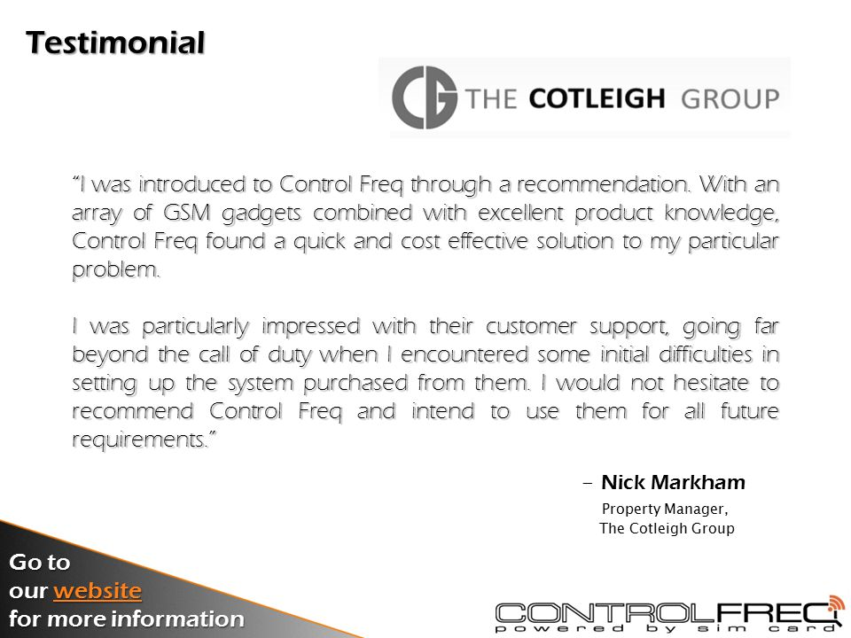 Testimonial I was introduced to Control Freq through a recommendation.