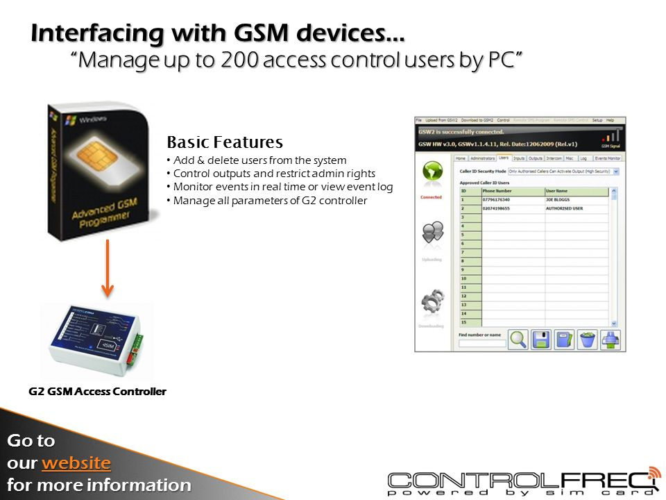 Create a PC remote control or monitoring system Using Desktop PCs with GSM… PC Monitoring …SoftwarePC MonitoringSoftware Installed on a PC & receives SMS from GSM alarm diallers Alarm Dialler in the field SMS Alarm Dialler in the field SMS Go to our website website for more information Click above for more...
