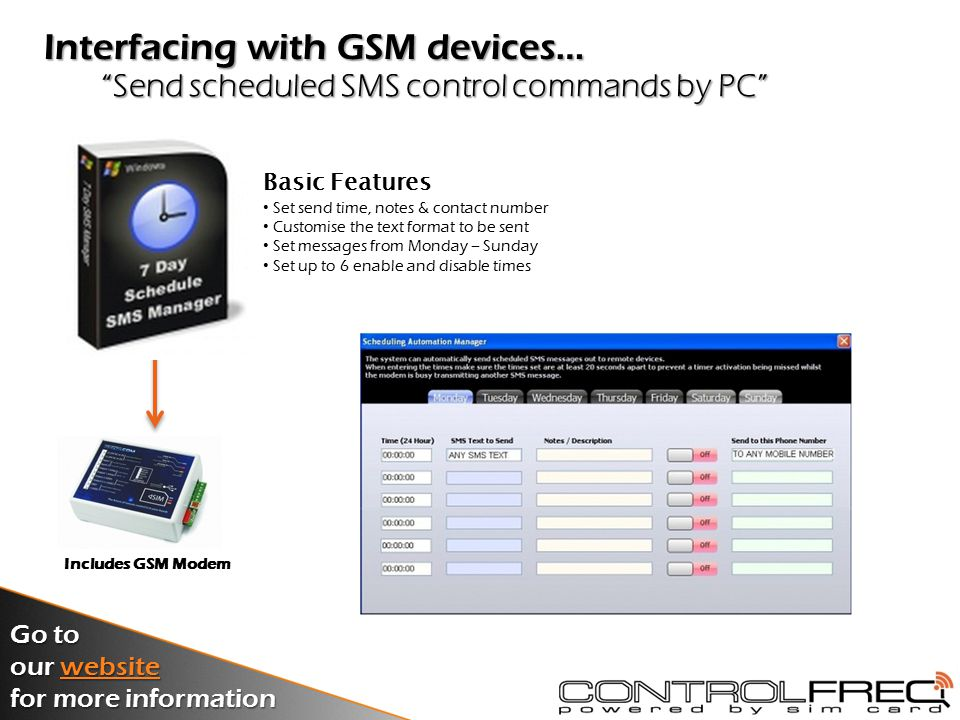 Manage up to 200 access control users by PC G2 GSM Access Controller Go to our website website for more information Basic Features Add & delete users from the system Control outputs and restrict admin rights Monitor events in real time or view event log Manage all parameters of G2 controller Interfacing with GSM devices…