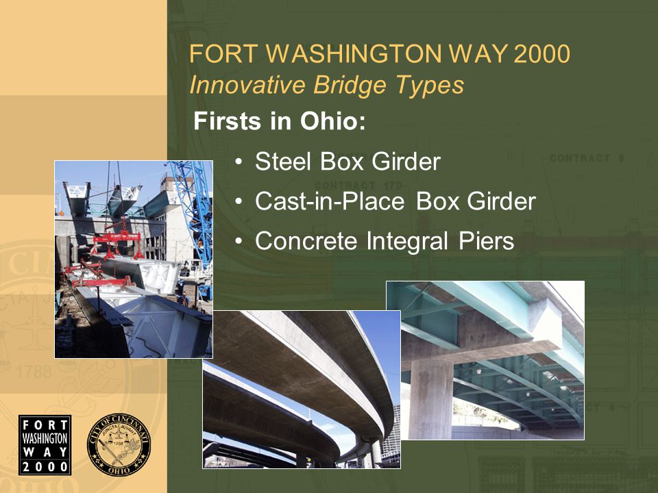FORT WASHINGTON WAY 2000 Innovative Bridge Types Firsts in Ohio: Steel Box Girder Cast-in-Place Box Girder Concrete Integral Piers