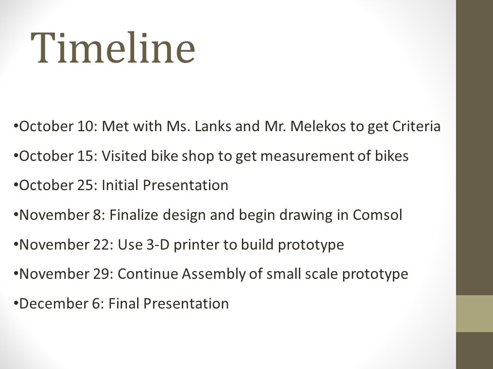 Timeline October 10: Met with Ms. Lanks and Mr.