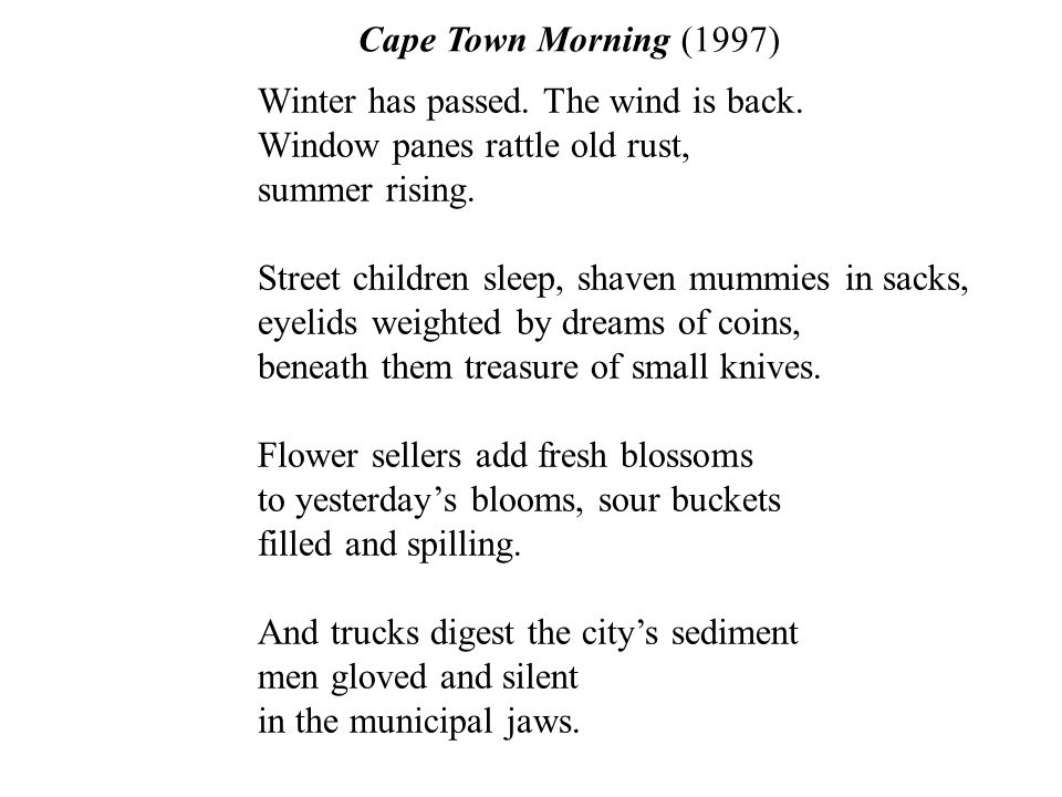 Cape Town Morning (1997) Winter has passed. The wind is back.
