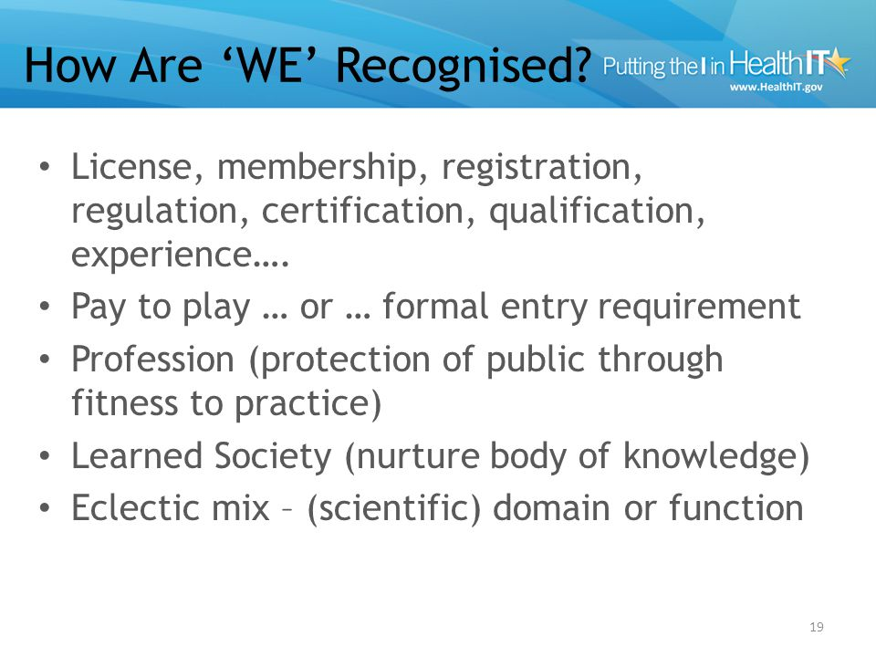 How Are 'WE' Recognised.
