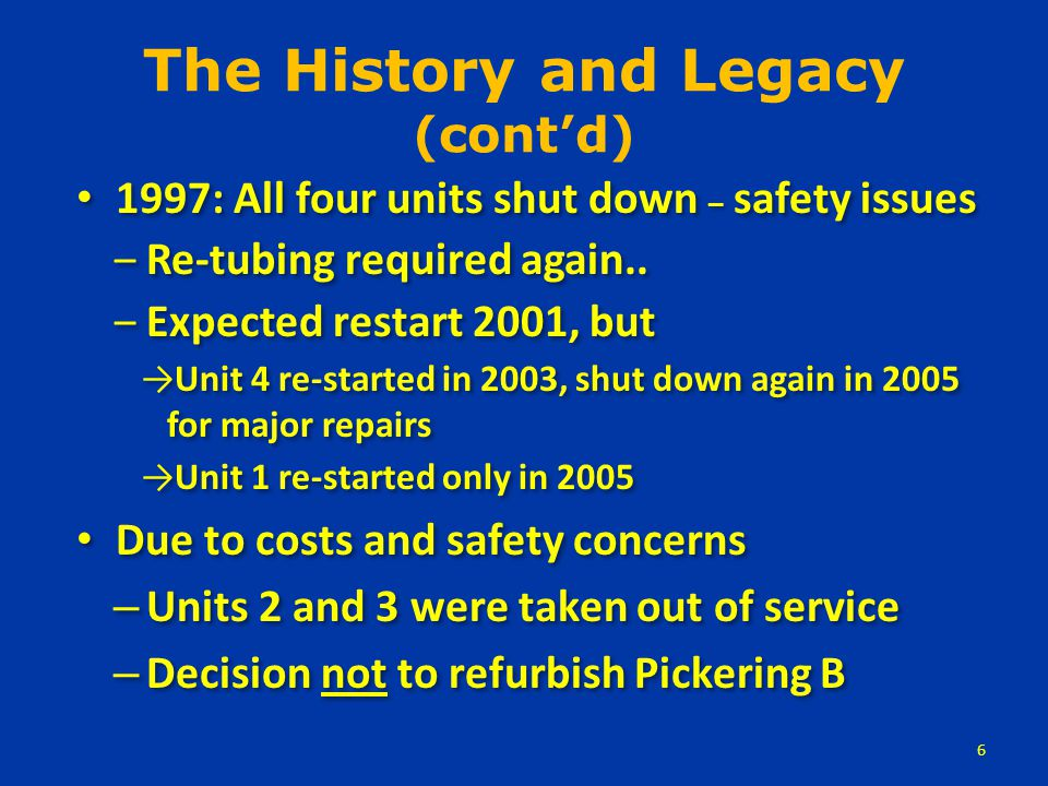 Inadequate Safety Systems – Only one fast emergency shutdown system (unique in the western world) – All eight reactors share the containment system and cooling injection system – Emergency coolant can be provided for only one accident at one reactor – Multiple reactor accidents cannot be dealt with by this system 7