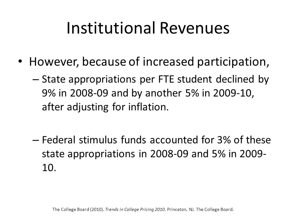 Institutional Revenues However, because of increased participation, – State appropriations per FTE student declined by 9% in 2008-09 and by another 5% in 2009-10, after adjusting for inflation.