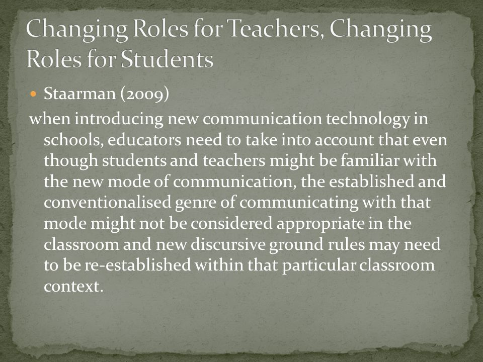 Staarman (2009) when introducing new communication technology in schools, educators need to take into account that even though students and teachers might be familiar with the new mode of communication, the established and conventionalised genre of communicating with that mode might not be considered appropriate in the classroom and new discursive ground rules may need to be re-established within that particular classroom context.