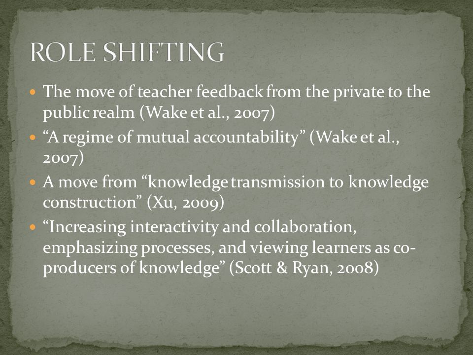 The move of teacher feedback from the private to the public realm (Wake et al., 2007) A regime of mutual accountability (Wake et al., 2007) A move from knowledge transmission to knowledge construction (Xu, 2009) Increasing interactivity and collaboration, emphasizing processes, and viewing learners as co- producers of knowledge (Scott & Ryan, 2008)