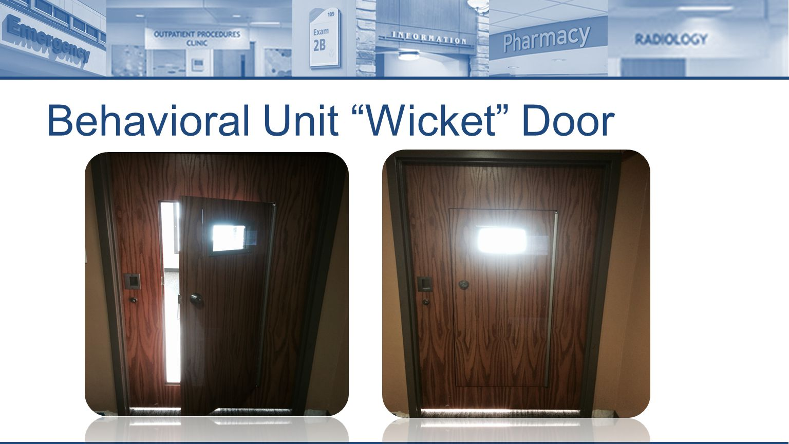 Behavioral Unit Wicket Door
